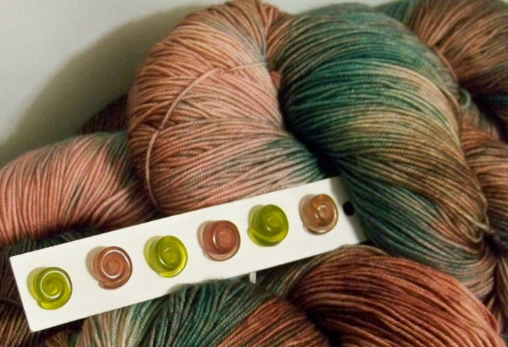Apricot and Green with Resin Buttons 3